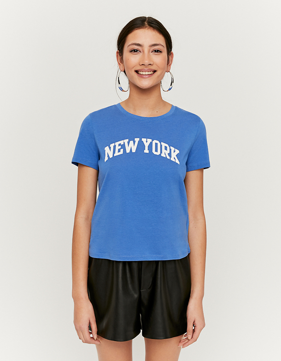 Blaues T-Shirt mit Aufdruck