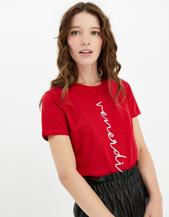 Red T-Shirt with Slogan