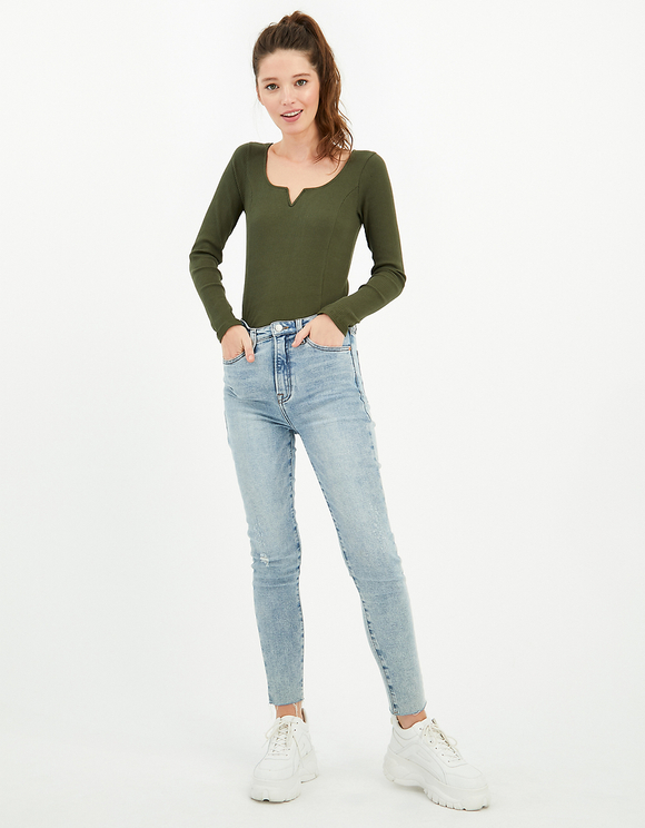 Khaki Ribbed Top