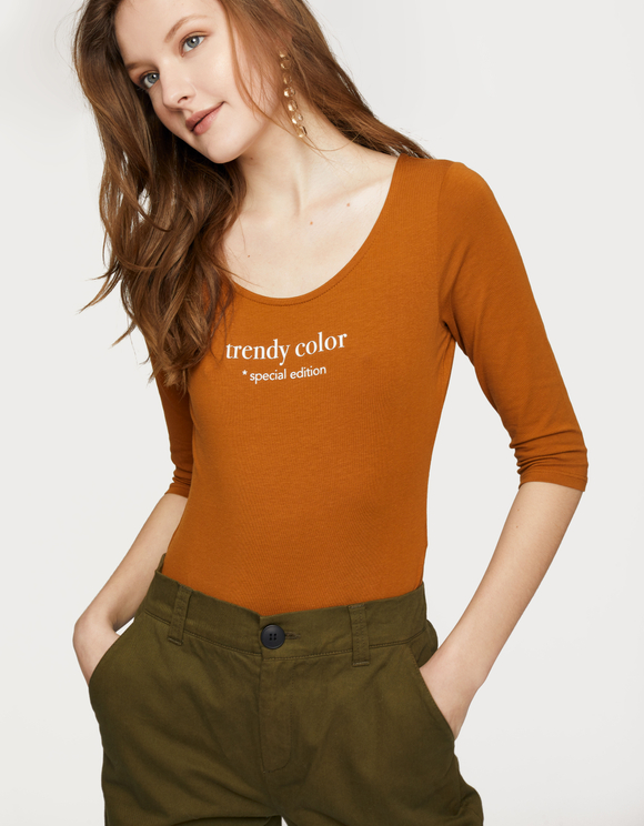 "Cognac ""Trendy color"" Bodysuit"