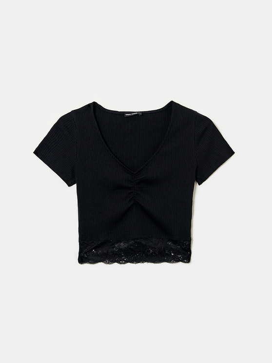 Black Lace Bottom Top