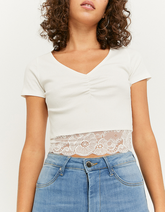 White Lace Bottom Top