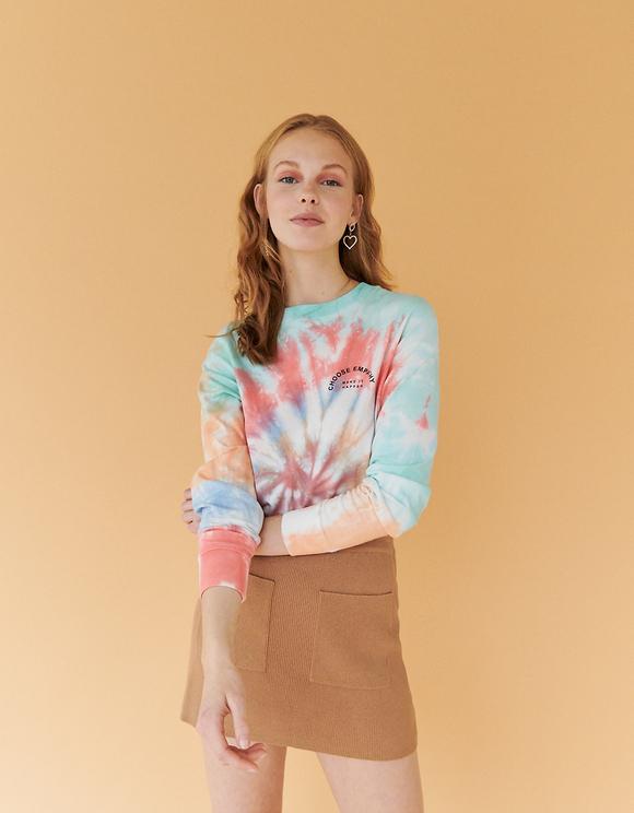 Kolorowa bluzka z długim rękawem Tie & Dye