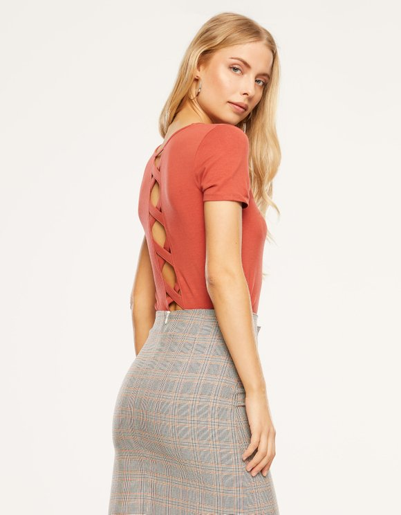 Red Criss Cross Back Top