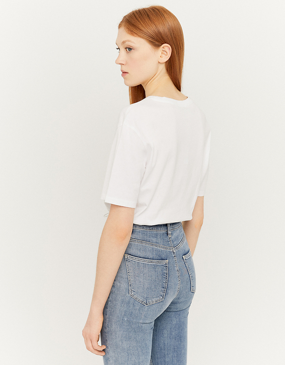 White Elastic Hem Crop Top