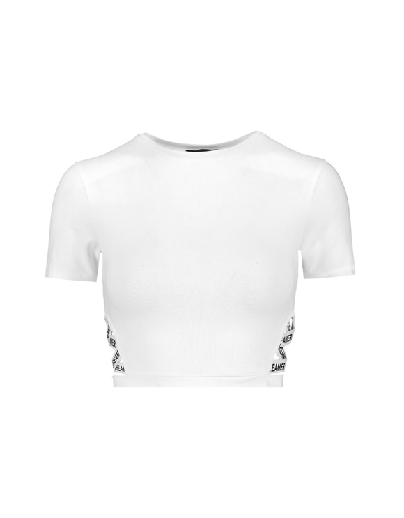 White Side Cut Out Crop Top