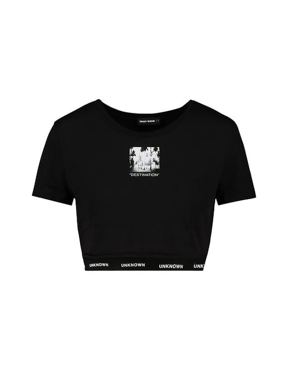 Crop Top Noir Imprimé