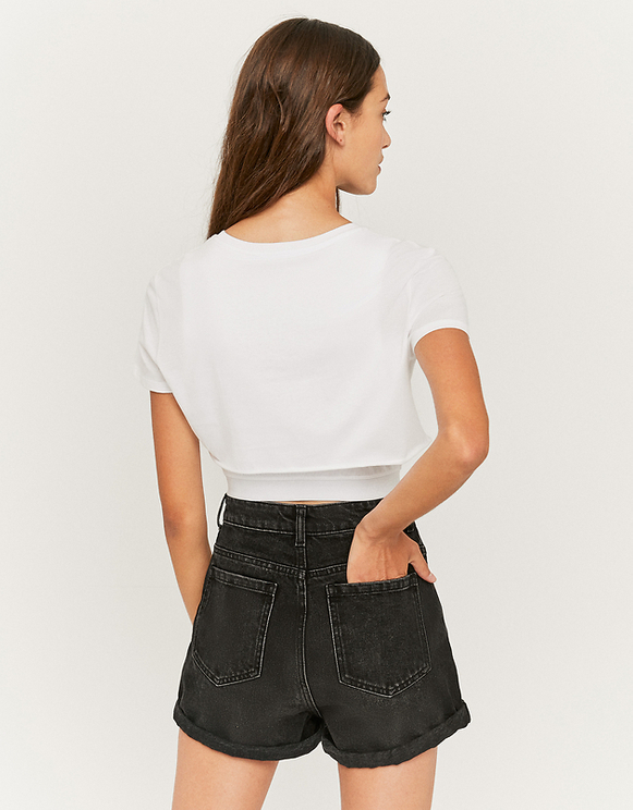 Crop Top Blanc Imprimé