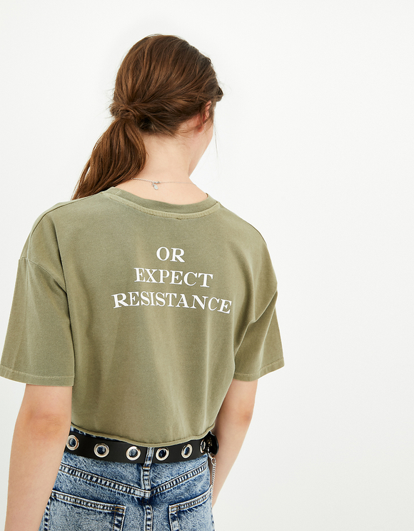 Khaki Crop Top with Slogan