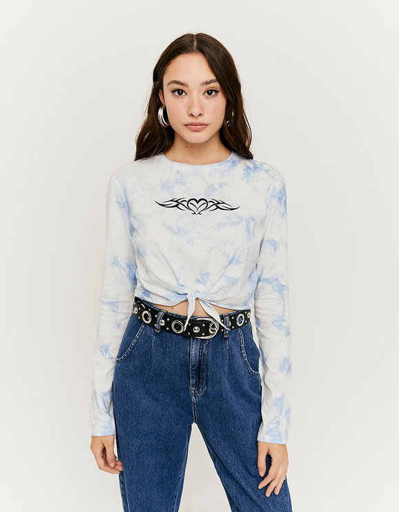 Blue Tie & Dye Crop Top
