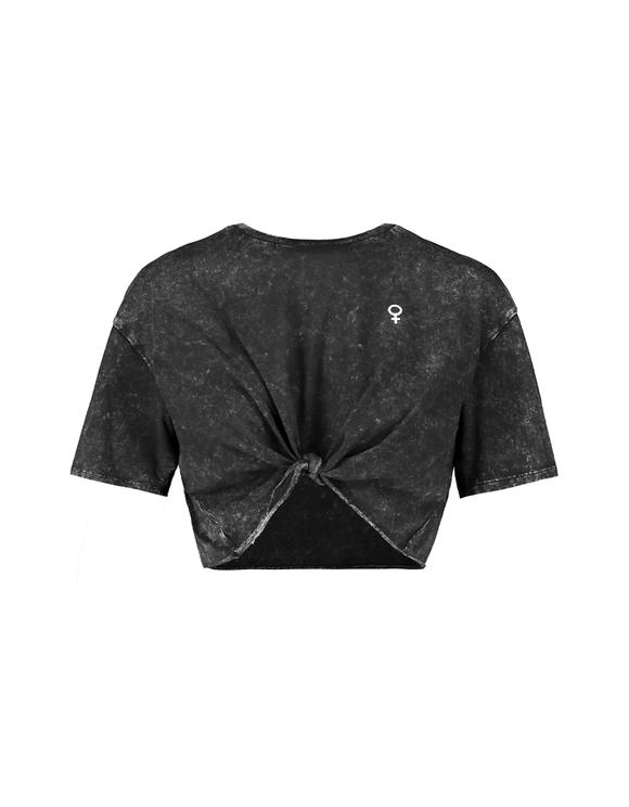 Grey Printed Crop Top