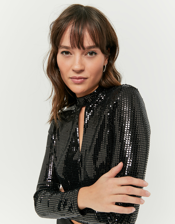 Black Glittered Top with Cut Outs