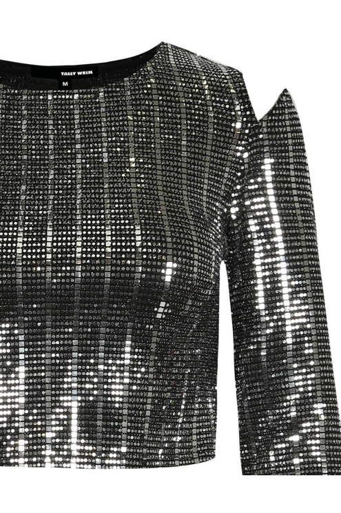 Silber schimmerndes Langarm-Shirt