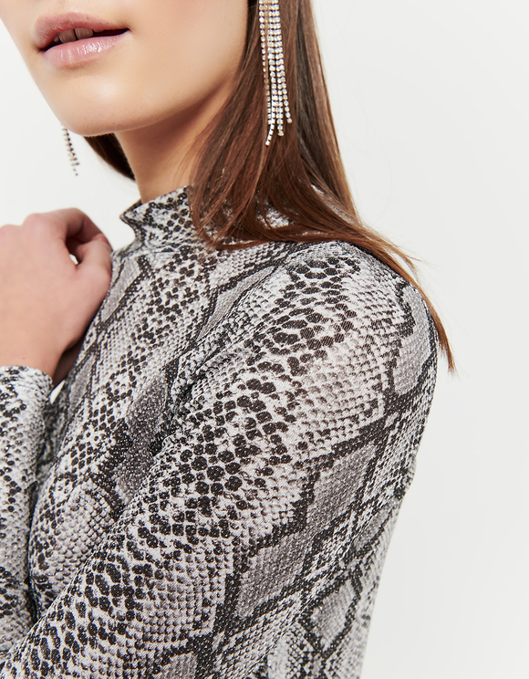 Snake Print Top with Glitters
