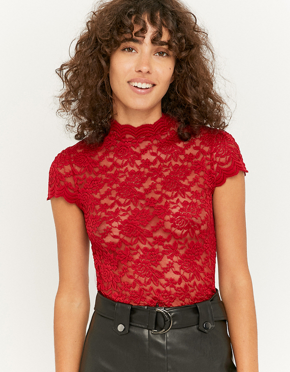 Red Lace Top