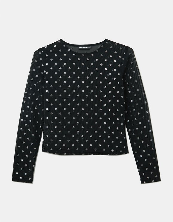 Black Top with Glittered Dots