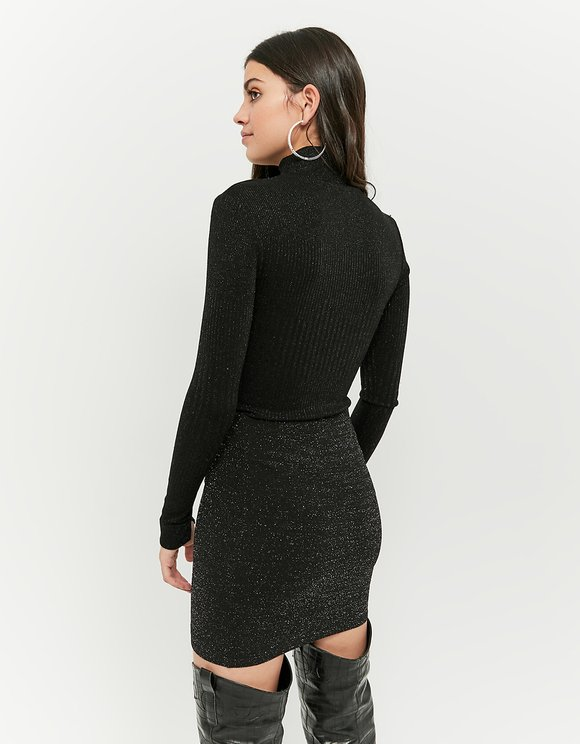 Black Lurex High Neck Top