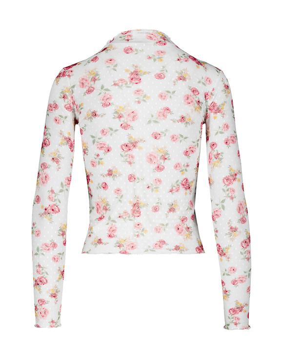 White Flower Print Mesh Top