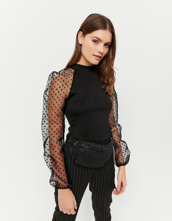 Black Balloon Mesh Sleeves Top
