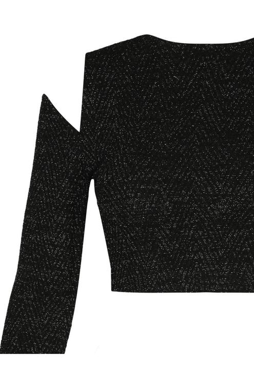 Schwarzes Crop Top mit Cut-outs