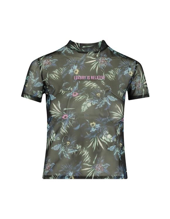 Mesh Tropical Print T-Shirt
