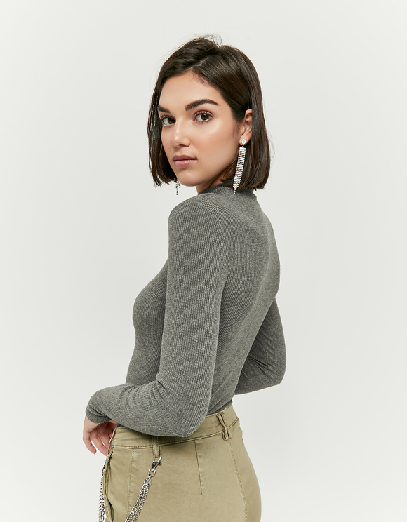 Grey Ribbed Top