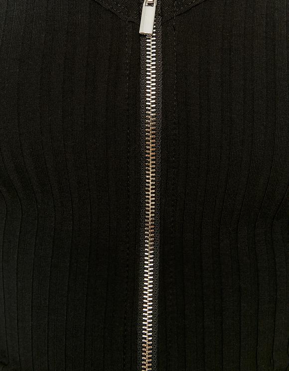 Schwarzes Top mit Reißverschluss