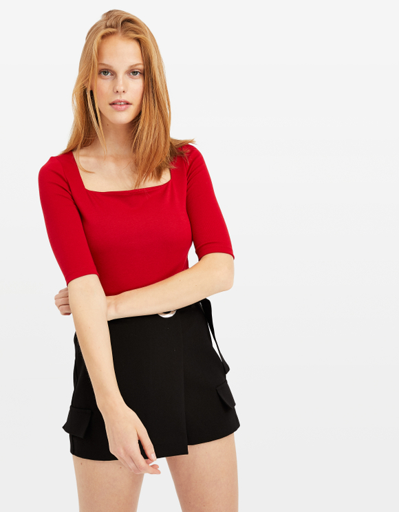 Red Square Neck Top