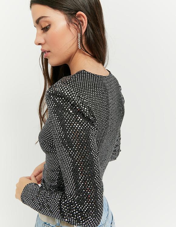 Silver Long Sleeves Top
