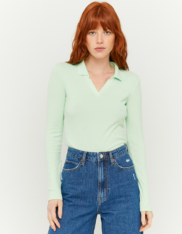 Green Ribbed Top with Collar