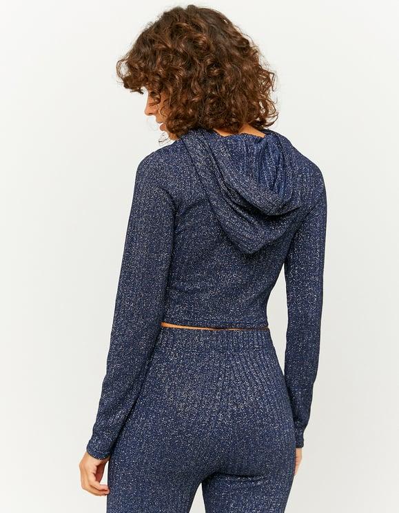 Blue Lurex Top with Hood