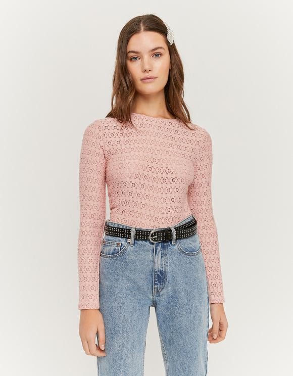 Top en Dentelle Crochet Rose