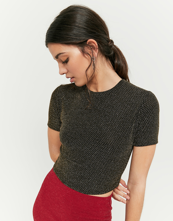 Crop Top Doré en Lurex