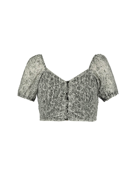 Grey Snake Crop Top