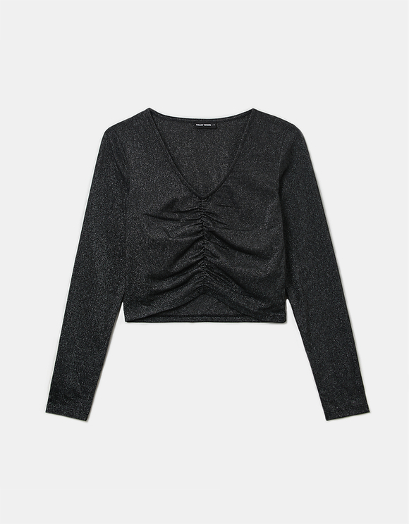 Black Ruched Front Top