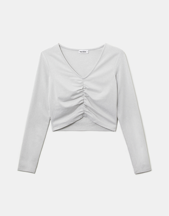 White Ruched Front Top