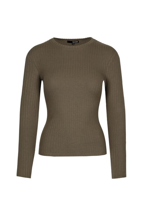 Khakifarbenes geripptes Langarm-Shirt