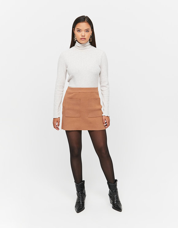 Light Beige Mock Neck Top