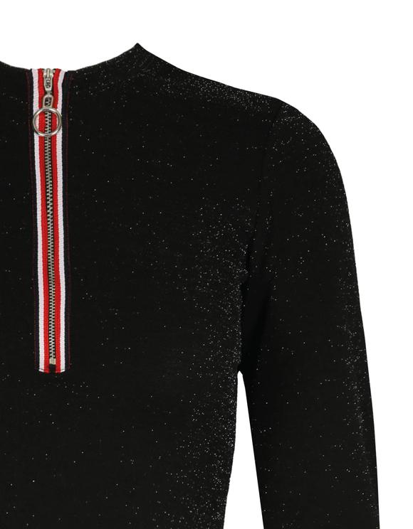 Schwarzes Crop Top mit Reißverschluss