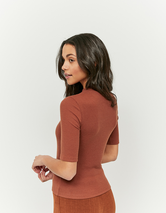 Cognac Soft Touch Ribbed Top