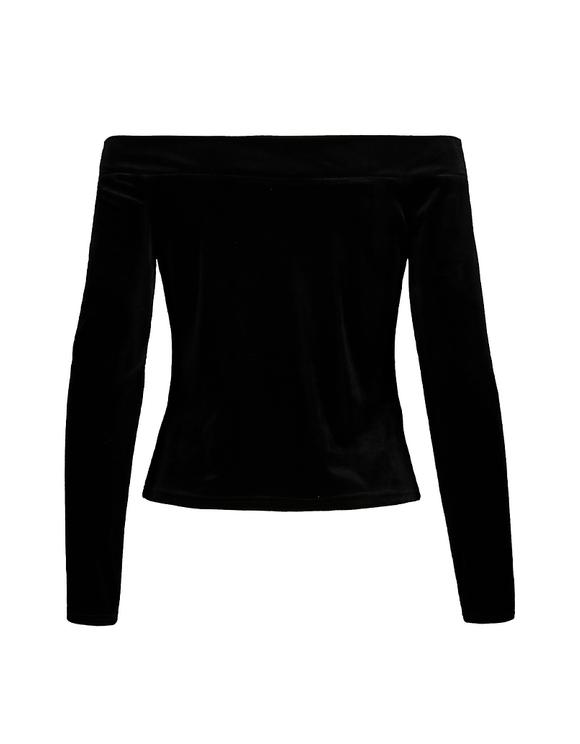 Schwarzes Top aus Samt mit freien Schultern