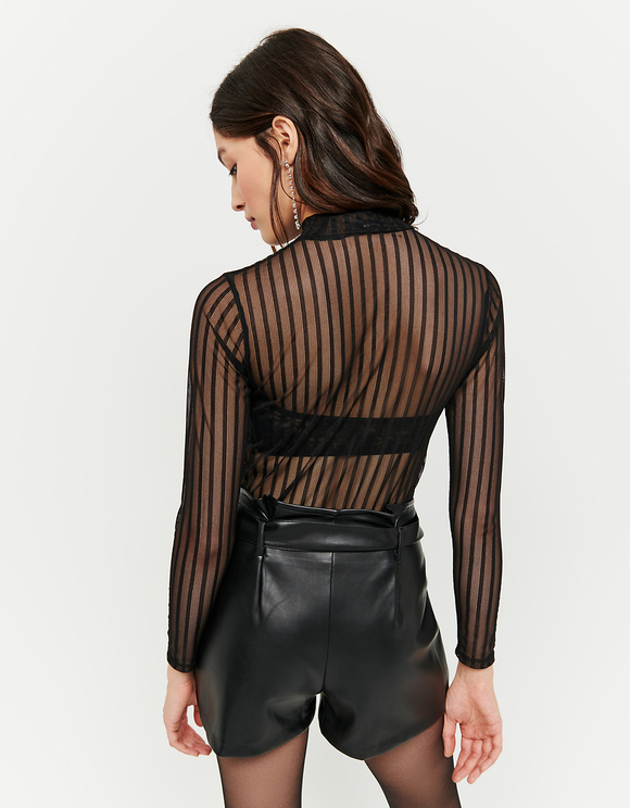 Black Striped Mesh Top