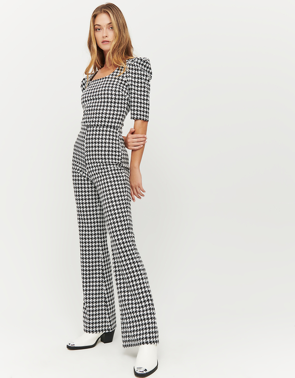 Houndstooth Print Top