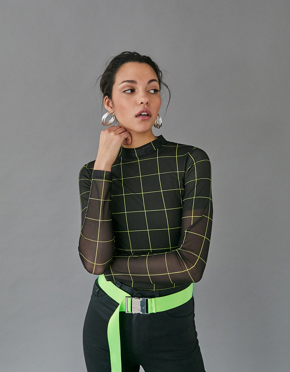 Black Check Mesh Top