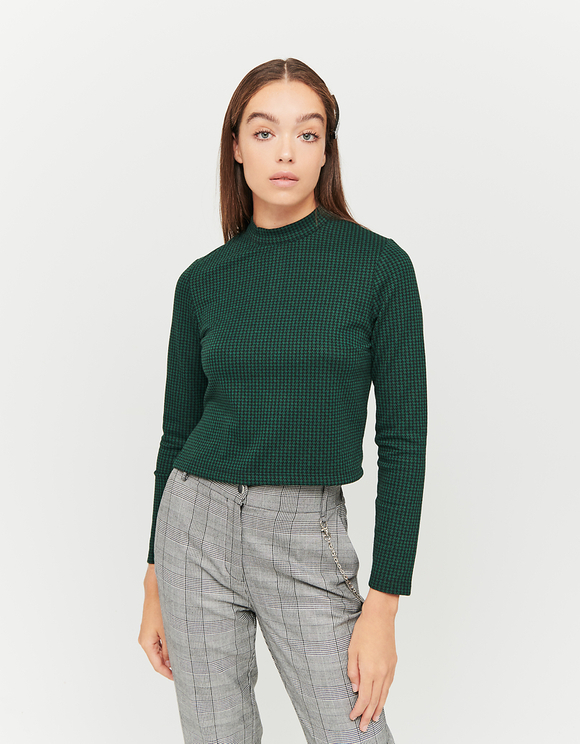 Green Houndstooth Print Top