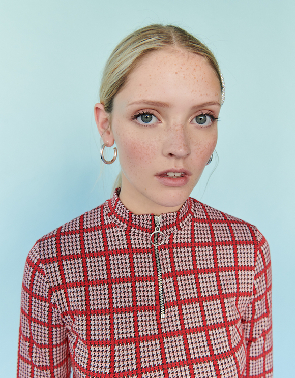 Red Houndstooth Jacquard Top