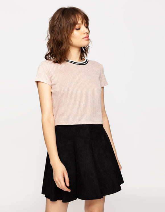 Pink Lurex Crop Top