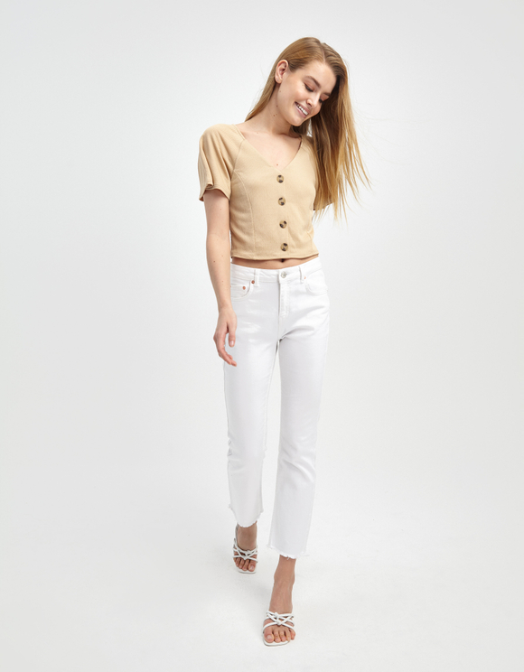 Beige Buttoned Top