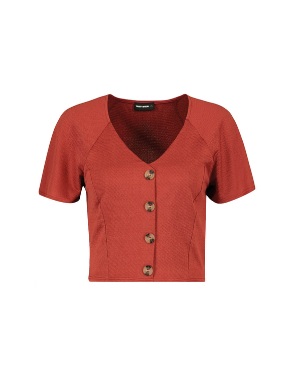 Red Buttoned Top