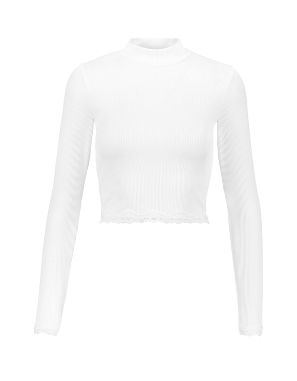 White Ribbed Top with Lace